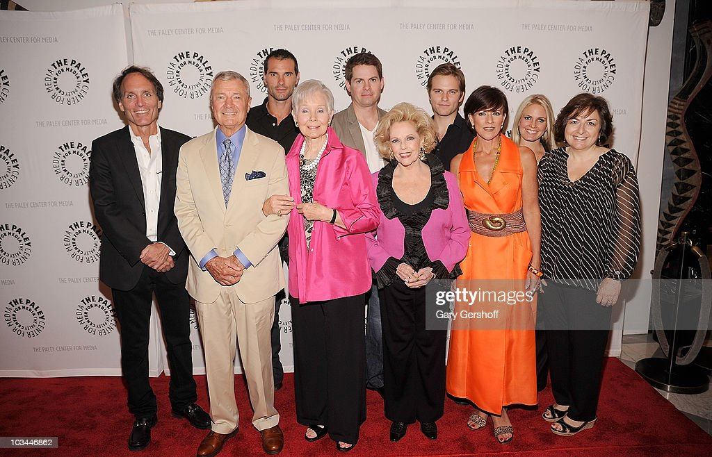 Actors <a gi-track='captionPersonalityLinkClicked' href=/galleries/search?phrase=Austin+Peck&family=editorial&specificpeople=594254 ng-click='$event.stopPropagation()'>Austin Peck</a>, <a gi-track='captionPersonalityLinkClicked' href=/galleries/search?phrase=Trent+Dawson&family=editorial&specificpeople=665543 ng-click='$event.stopPropagation()'>Trent Dawson</a>, <a gi-track='captionPersonalityLinkClicked' href=/galleries/search?phrase=Van+Hansis&family=editorial&specificpeople=718254 ng-click='$event.stopPropagation()'>Van Hansis</a>, (L-R, front row) executive producer Christopher Goutman, actors Don Hastings, Kathy Hays, <a gi-track='captionPersonalityLinkClicked' href=/galleries/search?phrase=Eileen+Fulton&family=editorial&specificpeople=226650 ng-click='$event.stopPropagation()'>Eileen Fulton</a>, Colleen Zenk, Terry Colombino, and writer Jean Passanante attend a farewell to cast of 'As The World Turns' at The Paley Center for Media on August 18, 2010 in New York City.
