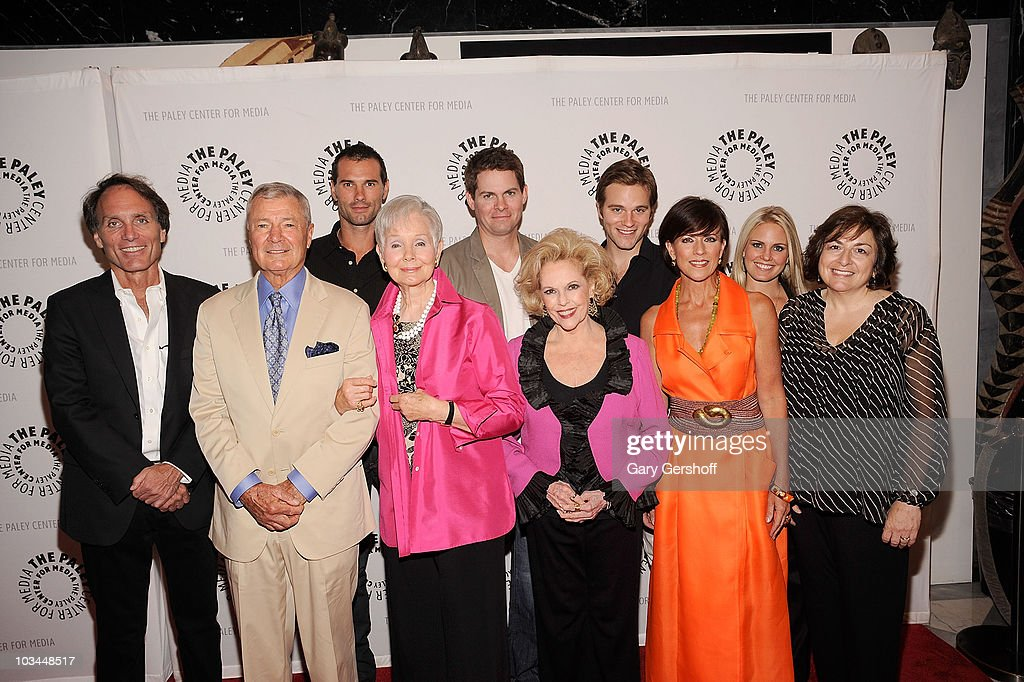 Actors Austin Peck, Trent Dawson, Van Hansis, (L-R, front row) executive producer Christopher Goutman, actors Don Hastings, Kathy Hays, Eileen Fulton, Colleen Zenk, Terry Colombino, and writer Jean Passanante attend a farewell to cast of 'As The World Turns' at The Paley Center for Media on August 18, 2010 in New York City.