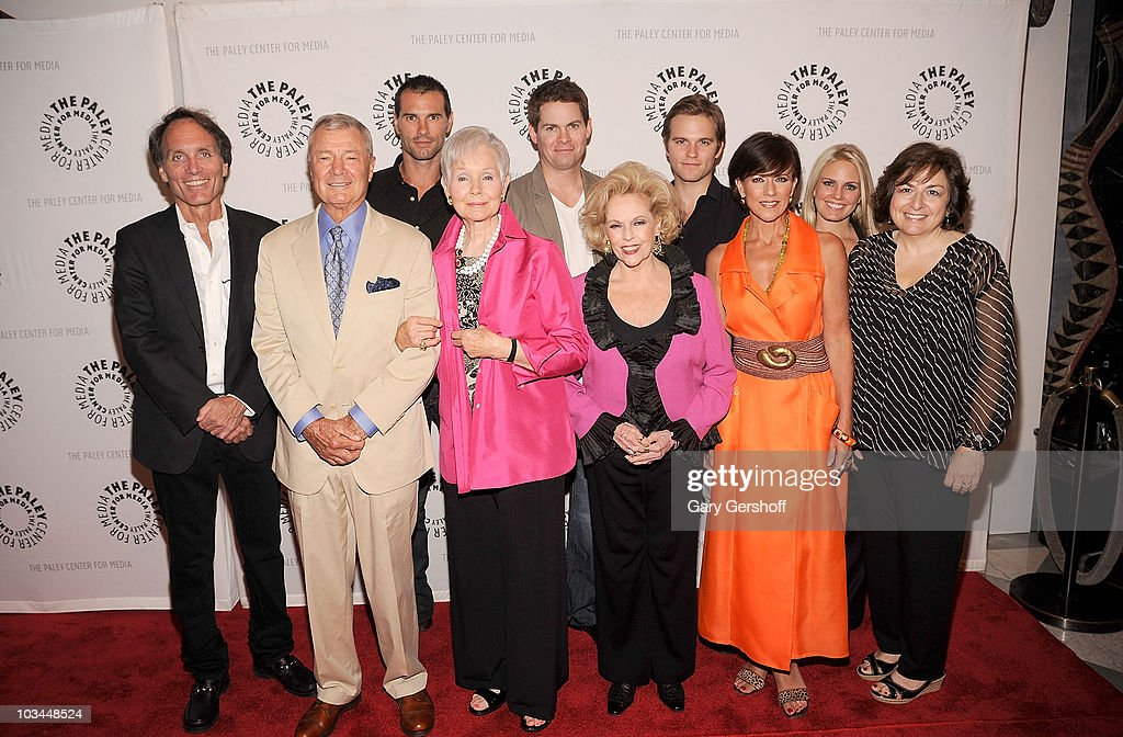 Actors <a gi-track='captionPersonalityLinkClicked' href=/galleries/search?phrase=Austin+Peck&family=editorial&specificpeople=594254 ng-click='$event.stopPropagation()'>Austin Peck</a>, <a gi-track='captionPersonalityLinkClicked' href=/galleries/search?phrase=Trent+Dawson&family=editorial&specificpeople=665543 ng-click='$event.stopPropagation()'>Trent Dawson</a>, Van Hansis, (L-R, front row) executive producer Christopher Goutman, actors Don Hastings, Kathy Hays, Eileen Fulton, Colleen Zenk, Terry Colombino, and writer Jean Passanante attend a farewell to cast of 'As The World Turns' at The Paley Center for Media on August 18, 2010 in New York City.