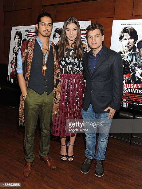 Actors Avan Jogia Hailee Steinfeld and Emile Hirsch attend a special screening of Archer Gray's 'Ten Thousand Saints' at Piknic on August 11 2015 in...