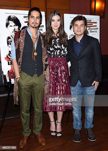 Actors Avan Jogia Hailee Steinfeld and Emile Hirsch attend the premiere of 'Ten Thousand Saints' at Piknic on August 11 2015 in Century City...