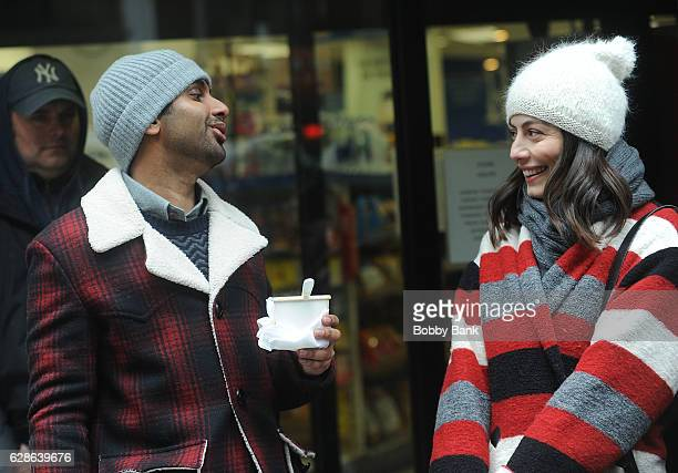 Actors Aziz Ansari and Alessandra Mastronardi on the set of the Netflix series 'Master of None' on December 8 2016 in New York City