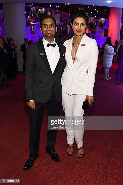 Actors Aziz Ansari and Priyanka Chopra attend 2016 Time 100 Gala Time's Most Influential People In The World red carpet at Jazz At Lincoln Center at...