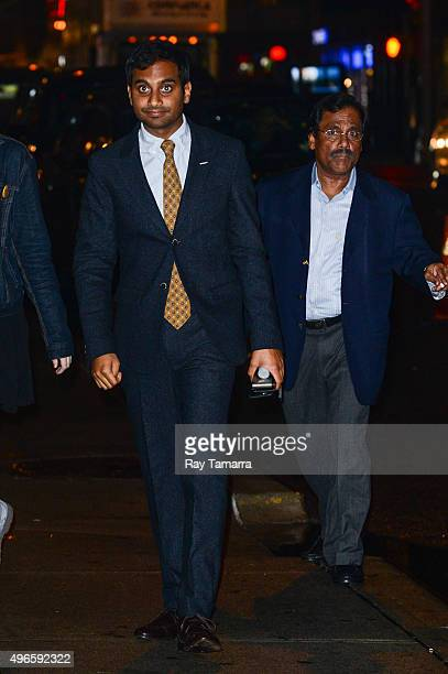 Actors Aziz Ansari and Shoukath Ansari enters the 'The Late Show With Stephen Colbert' taping at the Ed Sullivan Theater on November 10 2015 in New...