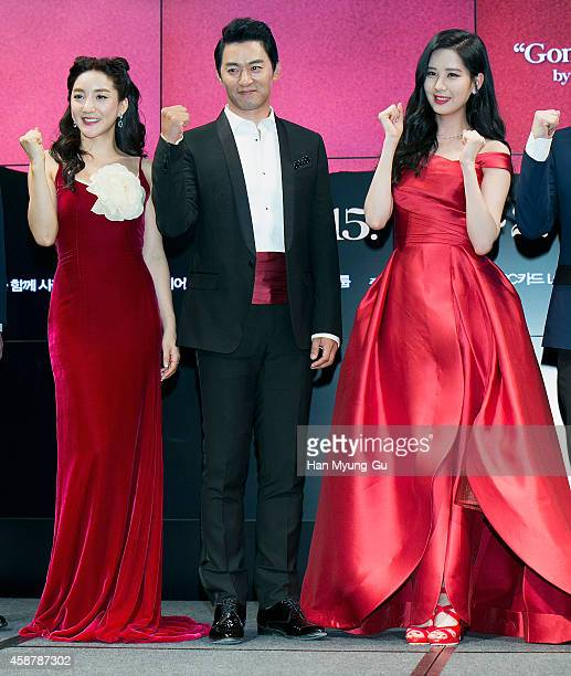 Actors Bada Joo JinMo and Seohyun of South Korean girl group Girls' Generation attend the press conference for musical 'Gone With The Wind' on...