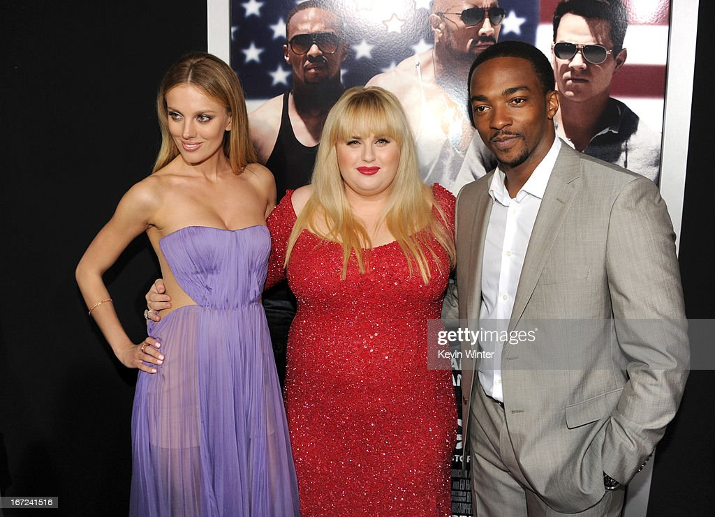 Actors <a gi-track='captionPersonalityLinkClicked' href=/galleries/search?phrase=Bar+Paly&family=editorial&specificpeople=5598732 ng-click='$event.stopPropagation()'>Bar Paly</a>, <a gi-track='captionPersonalityLinkClicked' href=/galleries/search?phrase=Rebel+Wilson&family=editorial&specificpeople=5563104 ng-click='$event.stopPropagation()'>Rebel Wilson</a>, and <a gi-track='captionPersonalityLinkClicked' href=/galleries/search?phrase=Anthony+Mackie&family=editorial&specificpeople=206212 ng-click='$event.stopPropagation()'>Anthony Mackie</a> arrive at the premiere of Paramount Pictures' 'Pain & Gain' at TCL Chinese Theatre on April 22, 2013 in Hollywood, California.