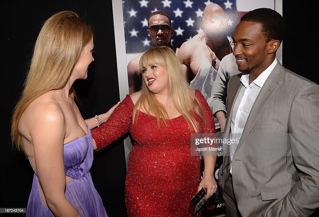 Actors Bar Paly, Rebel Wilson and Anthony Mackie arrive at the premiere of Paramount Pictures' 'Pain & Gain' at TCL Chinese Theatre on April 22, 2013 in Hollywood, California.