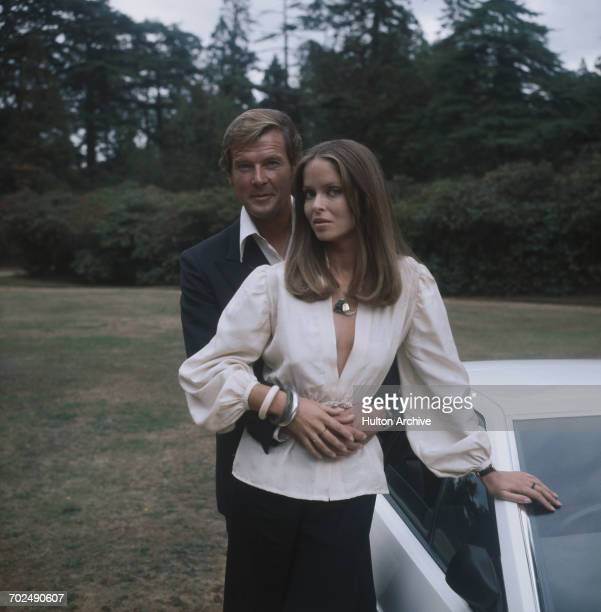 Actors Barbara Bach and Roger Moore stars of the James Bond film 'The Spy Who Loved Me' at Pinewood UK 1977