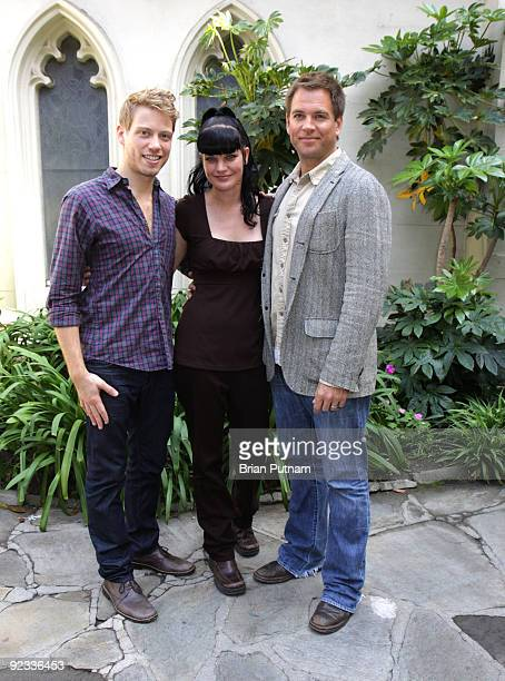 Actors Barrett Foa Pauley Perrette and Michael Weatherly participate in a reading of 'The Laramie Project 10 Years Later' at Hollywood United...