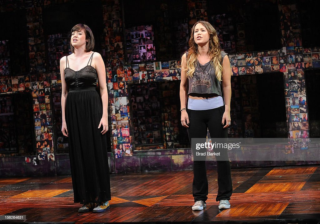 Actors Barrett Wilbert Weed(L) and Elizabeth Judd attends the 'Bare' Press Rehearsal at New World Stages on November 12, 2012 in New York City.