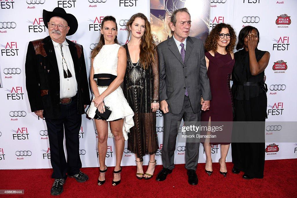 Actors Barry Corbin Hilary Swank Grace Gummer filmmaker Tommy Lee Jones photographer Dawn LaurelJones and AFI Fest Director Jacqueline Lyanga attend...