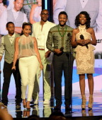 Actors Barry Floyd Lauren London Jay Ellis Hosea Chanchez and Brandy Norwood speak onstage during the 2013 BET Awards at Nokia Theatre LA Live on...