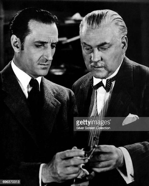 Actors Basil Rathbone as Sherlock Holmes and Nigel Bruce as Doctor Watson in the Sherlock Holmes film series circa 1940