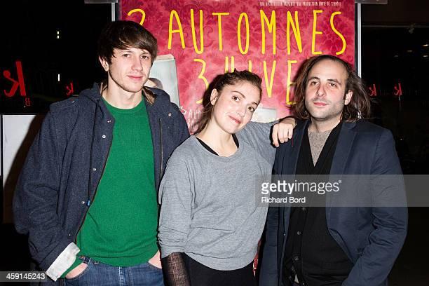 Actors Bastien Bouillon Maud Wyler and Vincent Macaigne attend the '2 Automnes 3 Hivers' premiere at MK2 Beaubourg on December 23 2013 in Paris France