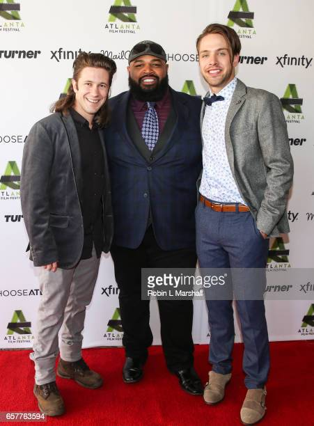 Actors Bear Badeaux Steve Ellis and Matthew Fahey attend the screening of 'Holden On' during the 2017 Atlanta Film Festival at the Plaza Theatre on...