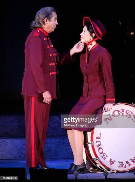 Actors Beau Bridges as Arvide Abernathy and Jessica Biel as Sarah Brown�perform in Guys Dolls at The Hollywood Bowl on July 31 2009 in Hollywood...
