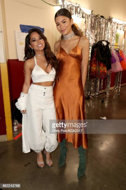 Actors Becky G and Zendaya at Nickelodeon's 2017 Kids' Choice Awards at USC Galen Center on March 11 2017 in Los Angeles California
