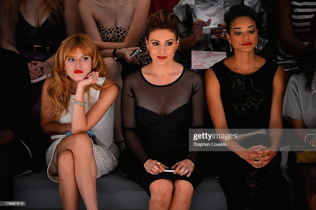 Actors Bella Thorne Alyssa Milano and Rochelle Aytes attend the Tadashi Shoji Spring 2014 fashion show during MercedesBenz Fashion Week at The Stage...