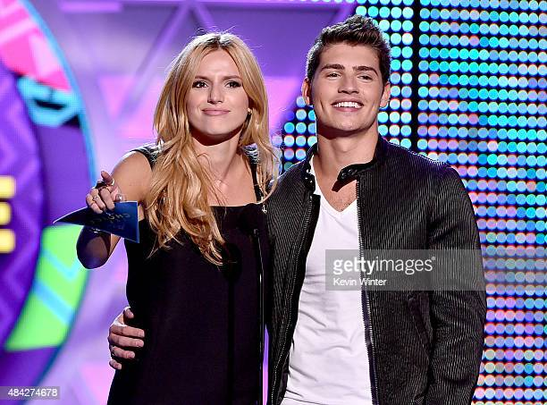 Actors Bella Thorne and Gregg Sulkin speak onstage during the Teen Choice Awards 2015 at the USC Galen Center on August 16 2015 in Los Angeles...