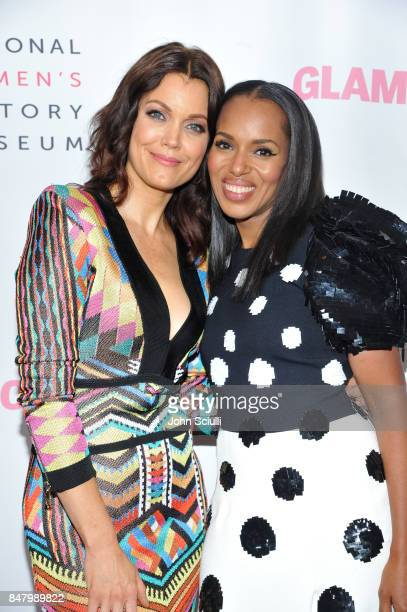 Actors Bellamy Young and Kerry Washington at the Women Making History Awards at The Beverly Hilton Hotel on September 16 2017 in Beverly Hills...