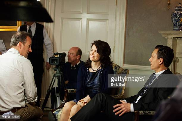Actors Bellamy Young and Tony Goldwyn are photographed on set of ABC's 'Scandal' for The Hollywood Reporter on March 14 2013 in Los Angeles California