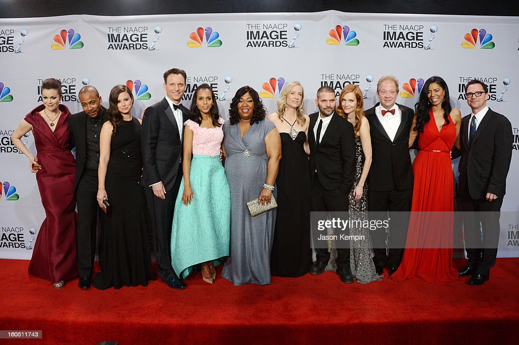 Actors Bellamy Young, Columbus Short, Katie Lowes, Tony Goldwyn, Kerry Washington, writer/producer Shonda Rhimes, executive producer Betsy Beers, actors Guillermo Diaz, Darby Stanchfield, Jeff Perry, CEO of Smith and Company Judy Smith and actor Joshua Malina pose in the press room during the 44th NAACP Image Awards at The Shrine Auditorium on February 1, 2013 in Los Angeles, California.