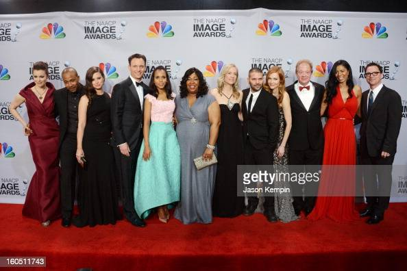 Actors Bellamy Young Columbus Short Katie Lowes Tony Goldwyn Kerry Washington writer/producer Shonda Rhimes executive producer Betsy Beers actors...