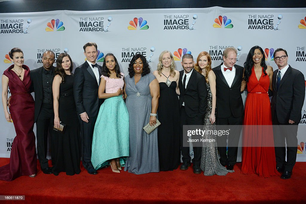 Actors Bellamy Young, Columbus Short, Katie Lowes, Tony Goldwyn, Kerry Washington, writer/producer Shonda Rhimes, executive producer Betsy Beers, actors Guillermo Diaz, Darby Stanchfield, Jeff Perry, executive producer Judy Smith and actor Joshua Malina pose in the press room during the 44th NAACP Image Awards at The Shrine Auditorium on February 1, 2013 in Los Angeles, California.