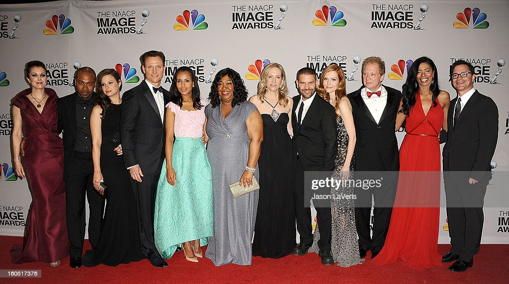 Actors Bellamy Young, Columbus Short, Katie Lowes, Tony Goldwyn, Kerry Washington, writer/producer Shonda Rhimes, executive producer Betsy Beers, actors Guillermo Diaz, Darby Stanchfield, Jeff Perry, executive producer Judy Smith and actor Joshua Malina pose in the press room at the 44th NAACP Image Awards at The Shrine Auditorium on February 1, 2013 in Los Angeles, California.