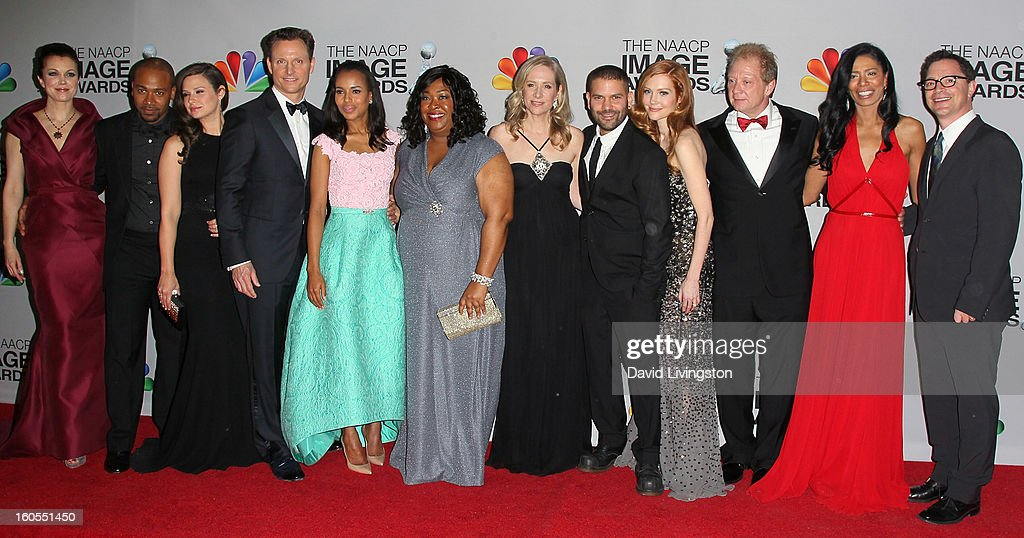 Actors Bellamy Young, Columbus Short, Katie Lowes, Tony Goldwyn, Kerry Washington, writer/creator/executive producer Shonda Rhimes, executive producer Betsy Beers, actors Guillermo Diaz, Darby Stanchfield and Jeff Perry, co-executive producer Judy Smith and actor Joshua Malina pose in the press room at the 44th NAACP Image Awards at The Shrine Auditorium on February 1, 2013 in Los Angeles, California.
