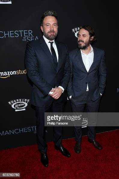 Actors Ben Affleck and Casey Affleck attend the premiere of Amazon Studios' 'Manchester By The Sea' at Samuel Goldwyn Theater on November 14 2016 in...