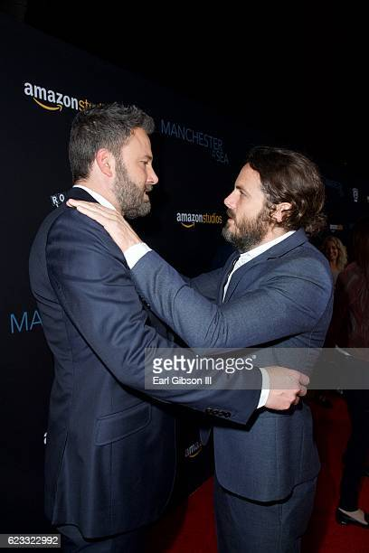 Actors Ben Affleck and Casey Affleck attend the Premiere Of Amazon Studios 'Manchester By The Sea' at Samuel Goldwyn Theater on November 14 2016 in...