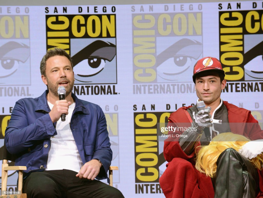 Actors Ben Affleck (L) and Ezra Miller attend the Warner Bros. Pictures 'Justice League' Presentation during Comic-Con International 2017 at San Diego Convention Center on July 22, 2017 in San Diego, California.