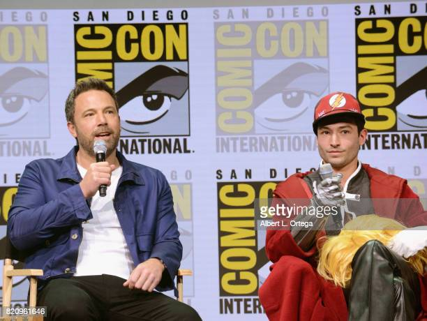 Actors Ben Affleck and Ezra Miller attend the Warner Bros Pictures 'Justice League' Presentation during ComicCon International 2017 at San Diego...