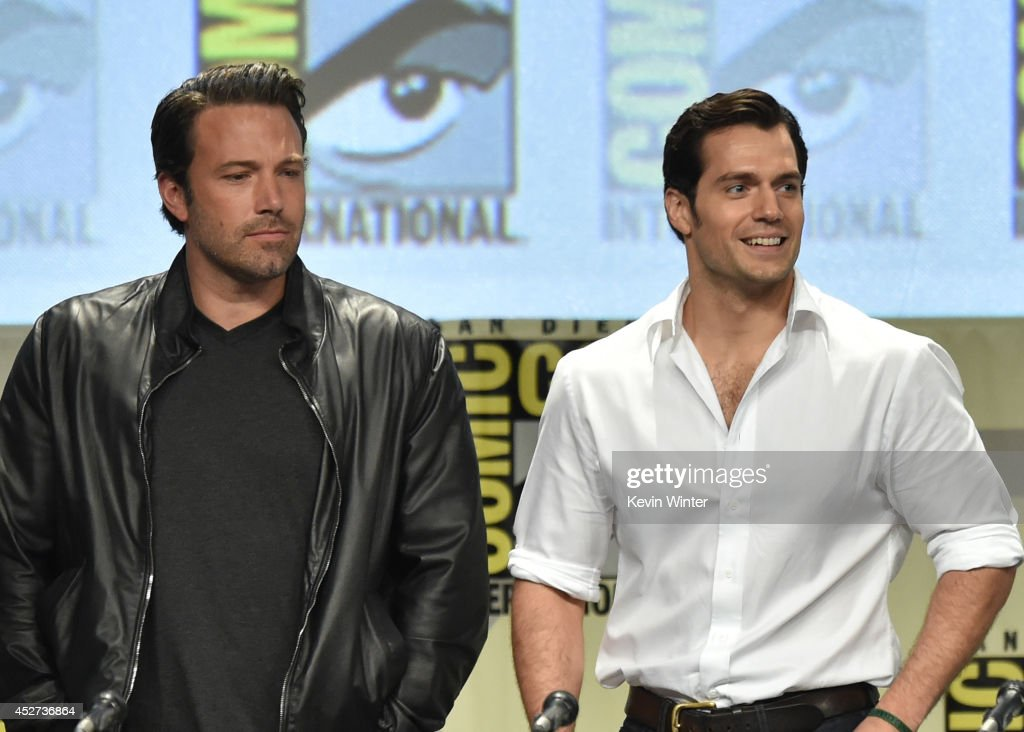 Actors <a gi-track='captionPersonalityLinkClicked' href=/galleries/search?phrase=Ben+Affleck&family=editorial&specificpeople=201856 ng-click='$event.stopPropagation()'>Ben Affleck</a> (L) and <a gi-track='captionPersonalityLinkClicked' href=/galleries/search?phrase=Henry+Cavill&family=editorial&specificpeople=3767741 ng-click='$event.stopPropagation()'>Henry Cavill</a> attend the Warner Bros. Pictures panel and presentation during Comic-Con International 2014 at San Diego Convention Center on July 26, 2014 in San Diego, California.