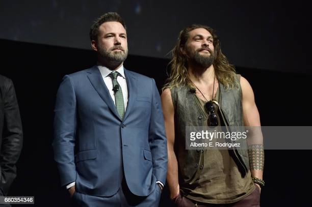 "Actors Ben Affleck and Jason Momoa speak onstage at CinemaCon 2017 Warner Bros Pictures Invites You to ""The Big Picture"" an Exclusive Presentation of..."