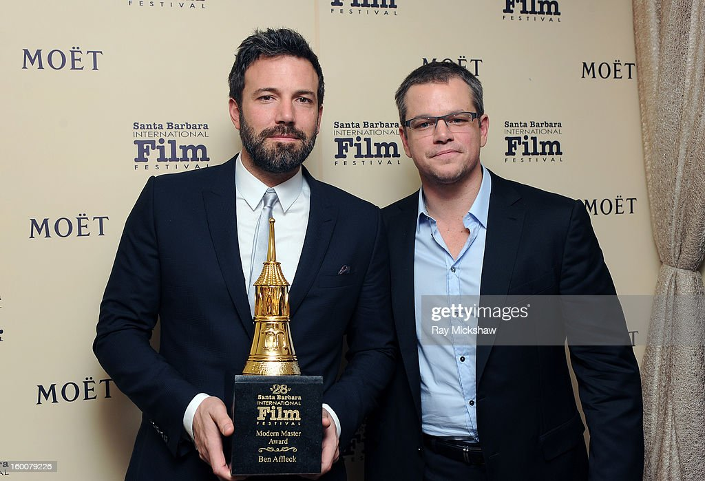 Actors <a gi-track='captionPersonalityLinkClicked' href=/galleries/search?phrase=Ben+Affleck&family=editorial&specificpeople=201856 ng-click='$event.stopPropagation()'>Ben Affleck</a> and <a gi-track='captionPersonalityLinkClicked' href=/galleries/search?phrase=Matt+Damon&family=editorial&specificpeople=202093 ng-click='$event.stopPropagation()'>Matt Damon</a> attend the Modern Master Award presented To <a gi-track='captionPersonalityLinkClicked' href=/galleries/search?phrase=Ben+Affleck&family=editorial&specificpeople=201856 ng-click='$event.stopPropagation()'>Ben Affleck</a> at the 28th Santa Barbara International Film Festival on January 25, 2013 in Santa Barbara, California.