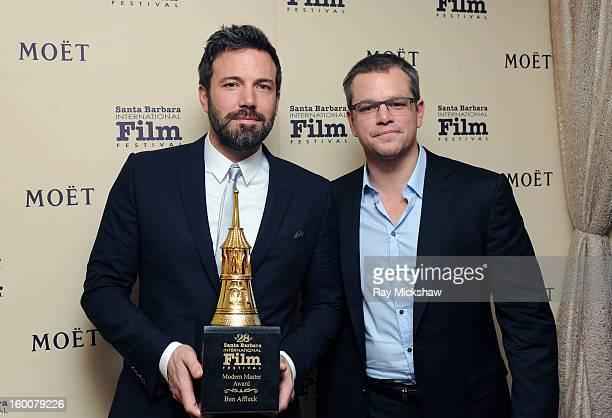 Actors Ben Affleck and Matt Damon attend the Modern Master Award presented To Ben Affleck at the 28th Santa Barbara International Film Festival on...