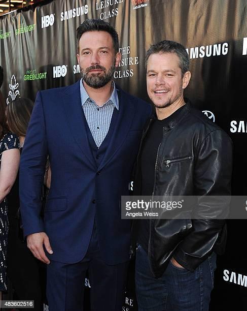 Actors Ben Affleck and Matt Damon attend the Project Greenlight Season 4 Winning Film premiere 'The Leisure Class' presented by Matt Damon Ben...