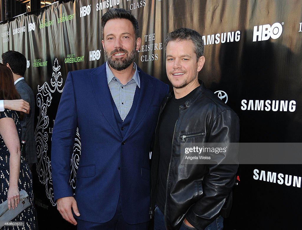 Actors <a gi-track='captionPersonalityLinkClicked' href=/galleries/search?phrase=Ben+Affleck&family=editorial&specificpeople=201856 ng-click='$event.stopPropagation()'>Ben Affleck</a> and <a gi-track='captionPersonalityLinkClicked' href=/galleries/search?phrase=Matt+Damon&family=editorial&specificpeople=202093 ng-click='$event.stopPropagation()'>Matt Damon</a> attend the Project Greenlight Season 4 Winning Film premiere 'The Leisure Class' presented by <a gi-track='captionPersonalityLinkClicked' href=/galleries/search?phrase=Matt+Damon&family=editorial&specificpeople=202093 ng-click='$event.stopPropagation()'>Matt Damon</a>, <a gi-track='captionPersonalityLinkClicked' href=/galleries/search?phrase=Ben+Affleck&family=editorial&specificpeople=201856 ng-click='$event.stopPropagation()'>Ben Affleck</a>, Adaptive Studios and HBO at The Theatre at Ace Hotel on August 10, 2015 in Los Angeles, California.