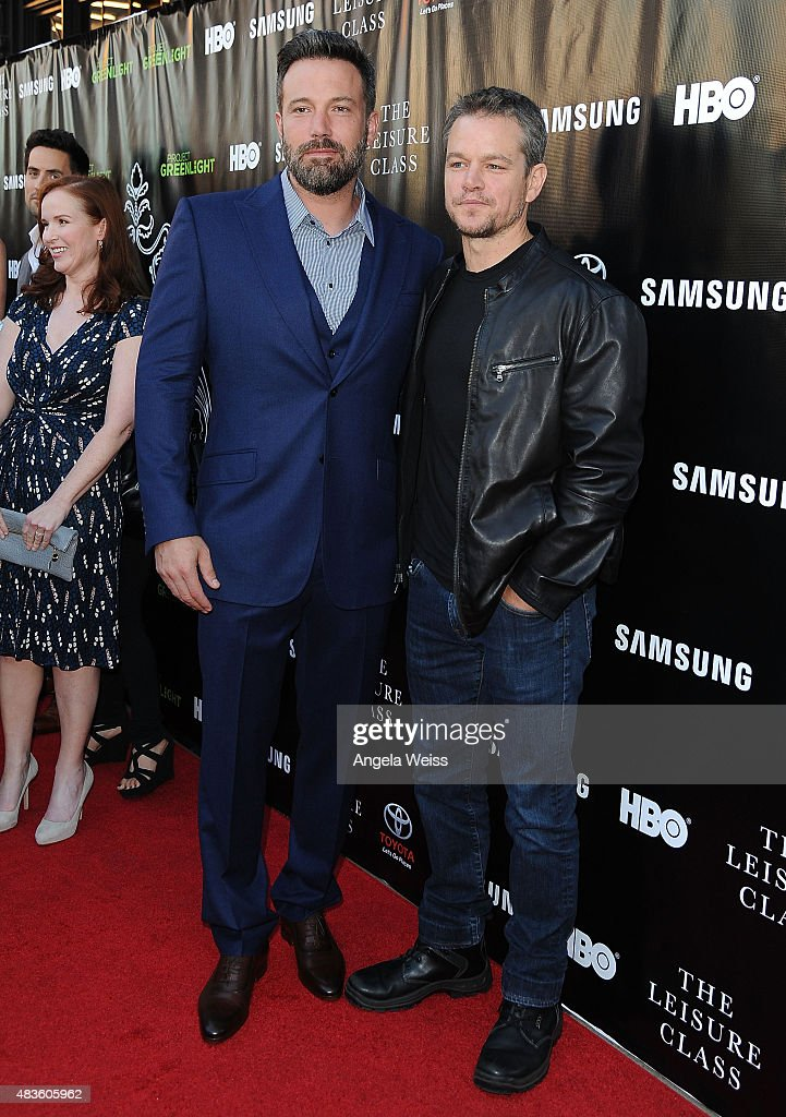 Actors Ben Affleck and Matt Damon attend the Project Greenlight Season 4 Winning Film premiere 'The Leisure Class' presented by Matt Damon, Ben Affleck, Adaptive Studios and HBO at The Theatre at Ace Hotel on August 10, 2015 in Los Angeles, California.