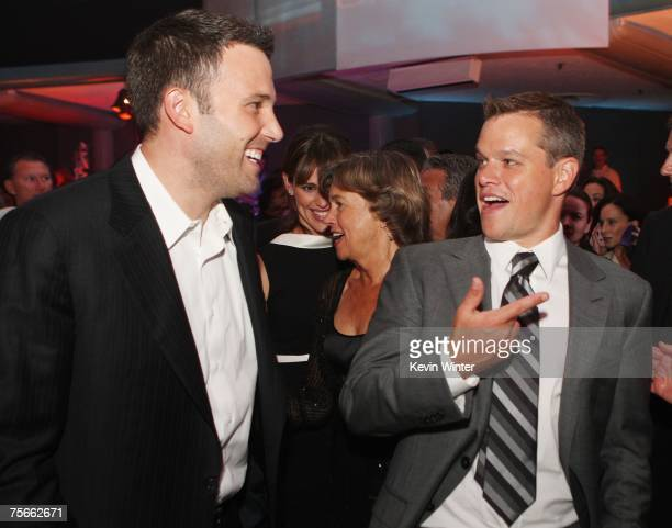 Actors Ben Affleck and Matt Damon talk at the afterparty for the premiere of Universal Picture's 'The Bourne Ultimatum' at the Hollywood Palladium on...