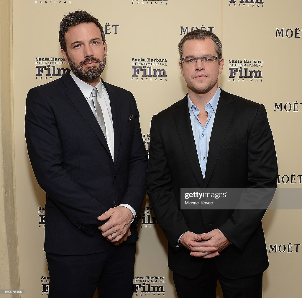 Actors Ben Affleck (L) and Matt Damon visit The Moet & Chandon Lounge at The Santa Barbara International Film Festival on January 25, 2013 in Santa Barbara, California.