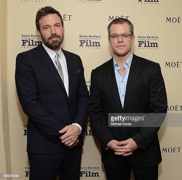 Actors Ben Affleck and Matt Damon visit The Moet Chandon Lounge at The Santa Barbara International Film Festival on January 25 2013 in Santa Barbara...