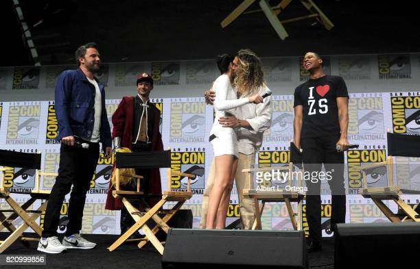 Actors Ben Affleck Ezra Miller Gal Gadot Jason Momoa and Ray Fisher from 'Justice League' attend the Warner Bros Pictures Presentation during...