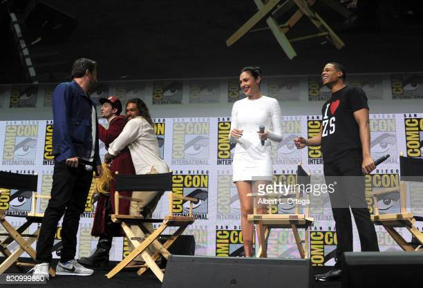 Actors Ben Affleck Ezra Miller Jason Momoa Gal Gadot and Ray Fisher from 'Justice League' attend the Warner Bros Pictures Presentation during...