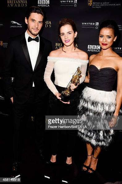 Actors Ben Barnes Emma Watson and Gugu MbathaRaw attend the BAFTA Los Angeles Jaguar Britannia Awards presented by BBC America and United Airlines at...