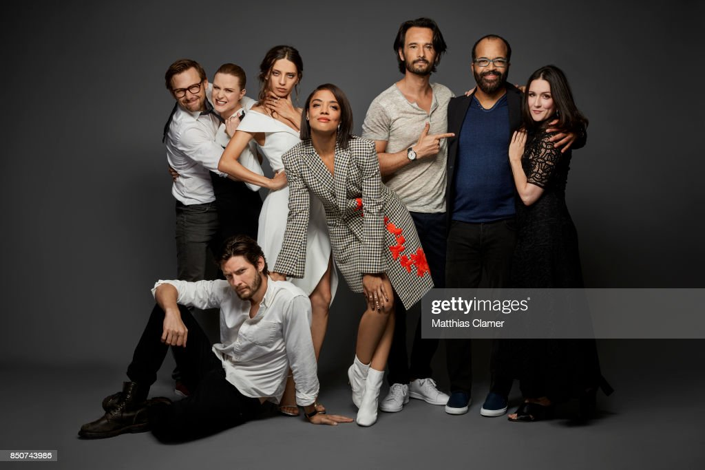 Actors Ben Barnes (on the ground), Jimmi Simpson, Evan Rachel Wood, Angela Sarafyan, Tessa Thompson, Rodrigo Santoro, Jeffrey Wright and Shannon Woodward from Westworld are photographed for Entertainment Weekly Magazine on July 22, 2017 at Comic Con in San Diego, California. PUBLISHED