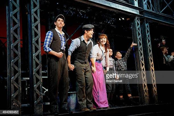 Actors Ben Fankhauser Corey Cott and Liana Hunt attend the 'Newsies' Final Broadway Curtain Call at the Nederlander Theatre on August 24 2014 in New...