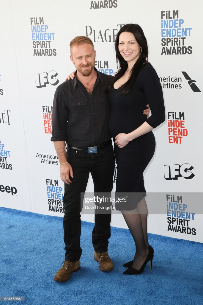 Actors Ben Foster (L) and Laura Prepon attend the 2017 Film Independent Spirit Awards on February 25, 2017 in Santa Monica, California.
